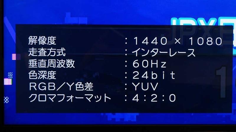 NHK BS1の受信情報(1月15日)。解像度は1,440×1,080ドット