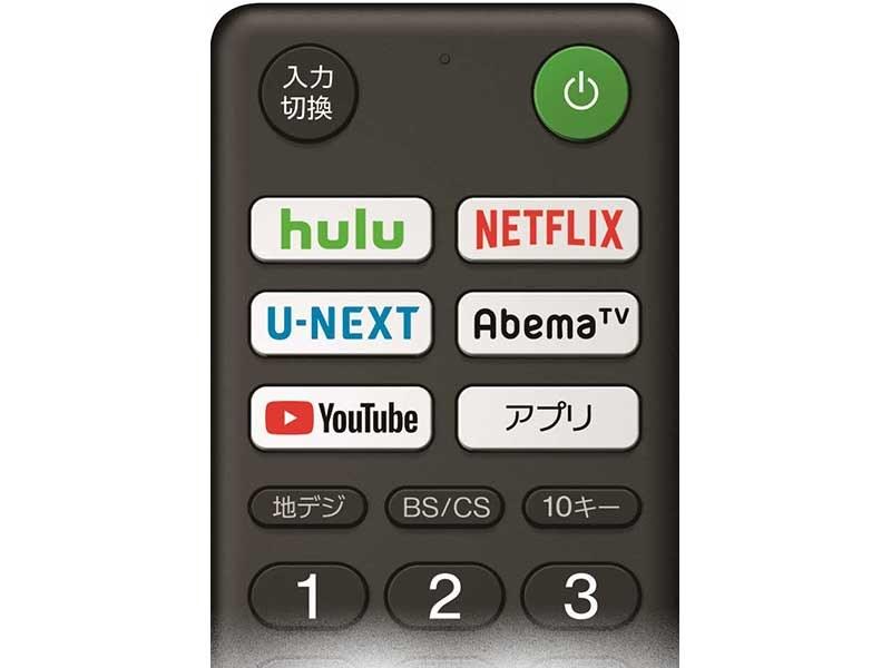 新BRAVIAのリモコン上部の「インターネット動画ボタン」