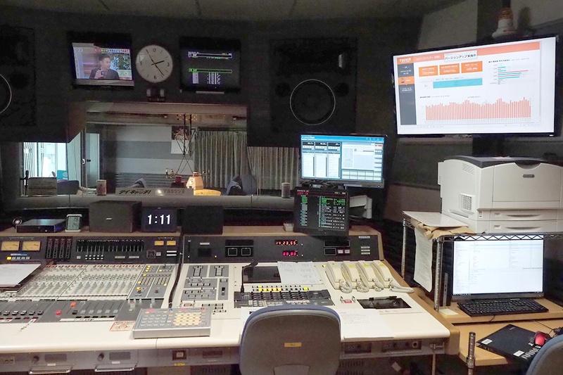 スタジオの調整室にあるディレクター席の隣には、大きなディスプレイが。ここに毎分での聴取データが表示され、見ながら制作する