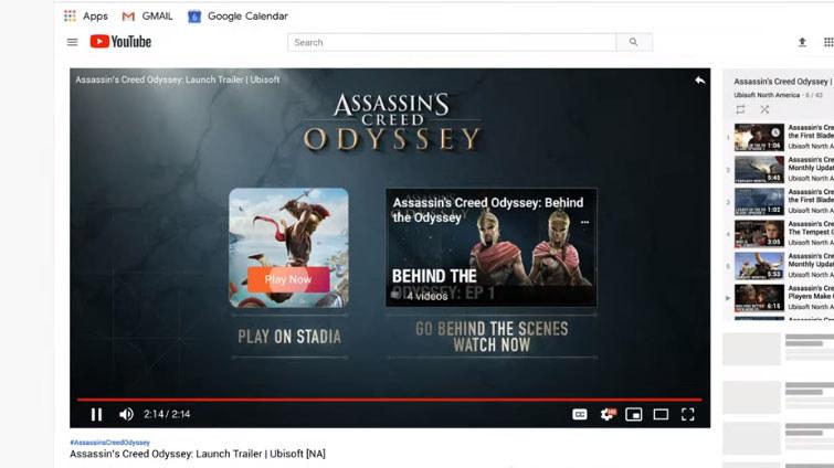 ゲームのトレーラー動画を鑑賞、最後に「プレイ」ボタンが