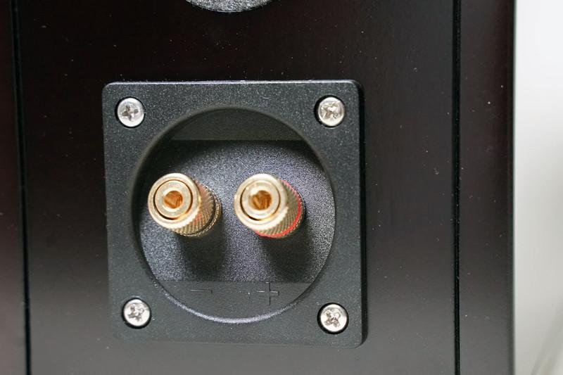 スピーカー端子のクローズアップ。スピーカー端子部を固定するネジはニッケルメッキの鉄製だが、左上のネジだけはステンレスネジとし、音質をコントロールしている