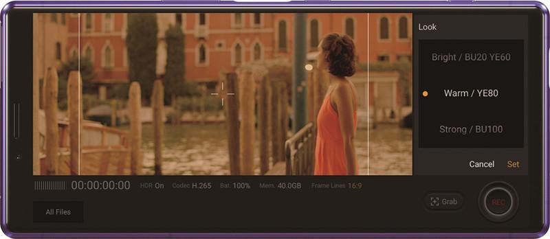 Cinema Pro機能のユーザーインターフェイス