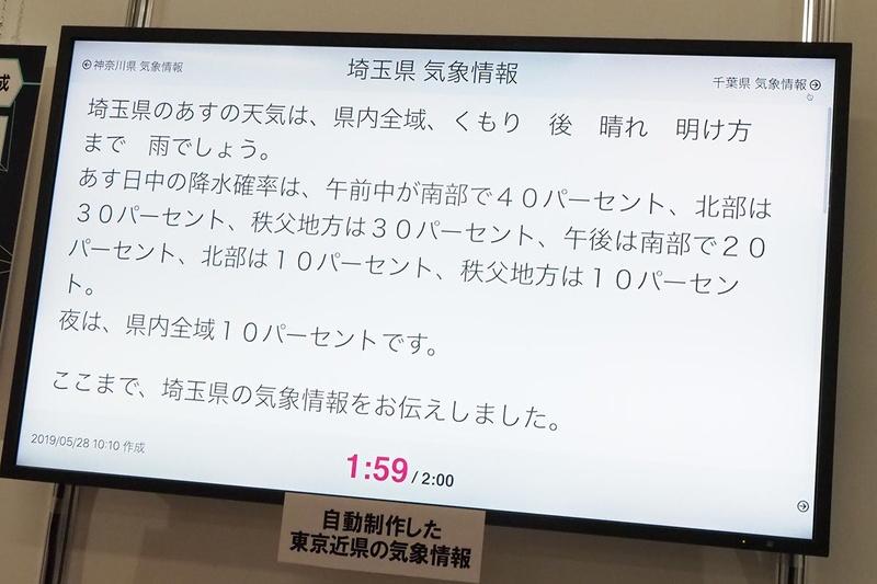 AIアナウンサーの天気予報原稿のデモ