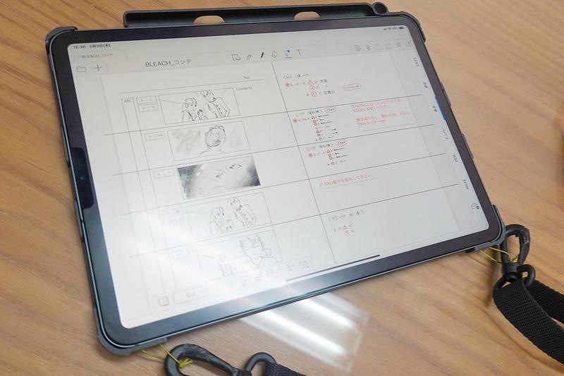 田口さんのiPad Pro。使っているアプリはMetamojiの「GEMBA Note」。表示されているのは、「BLEACH」撮影に実際に使われた絵コンテだ
