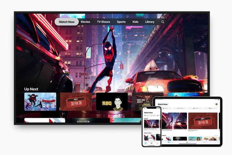 """""""アップル公式""""のApple TVアプリ画像では、上部にある豊富なカテゴリから選べるようになっている"""
