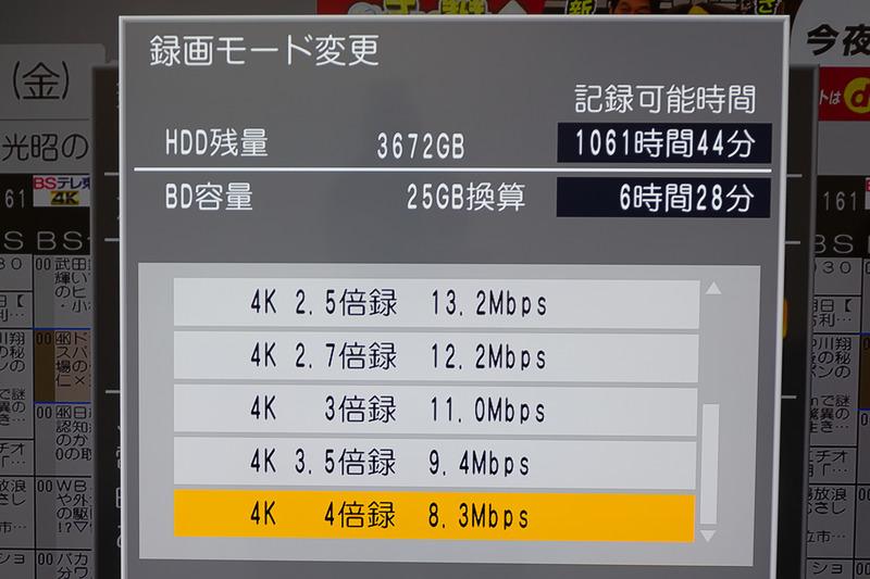 長時間モードは、1.5倍録から4倍録が選択可能