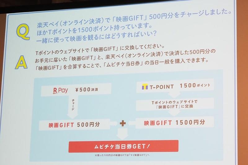 楽天ペイで映画GIFTを500円分チャージして、手元にTポイントもある場合、Tポイントを映画GIFTに交換して、ムビチケ当日券を買える