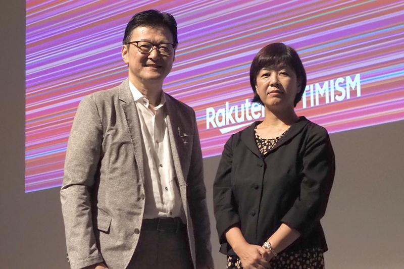 楽天の有馬誠副社長CRO(左)と、東宝東和の山﨑敏社長(右)が、次世代の映画業界について語るトークセッションも実施。山﨑氏が映画業界におけるデジタルマーケティングの普及に期待を寄せた
