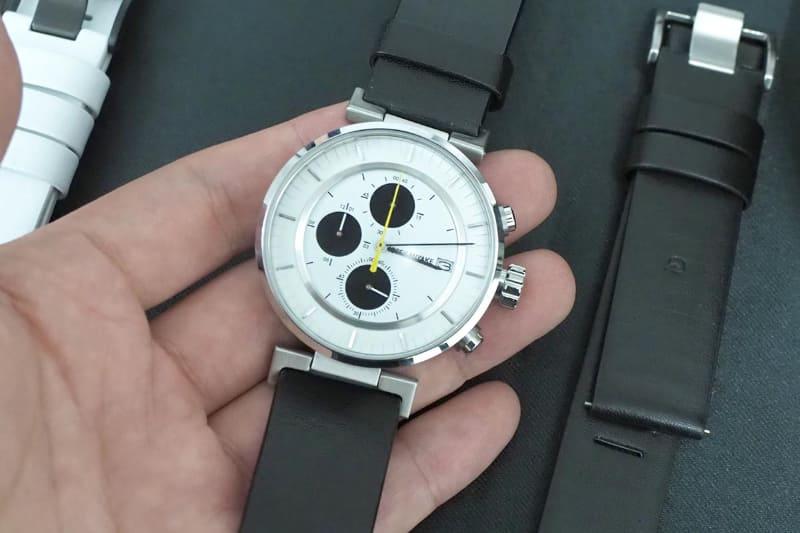 wena wrist leather Chronograph set Black-ISSEY MIYAKE Edition