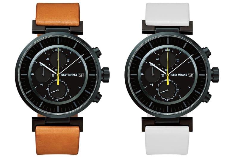 wena wrist leather Chronograph set Black-ISSEY MIYAKE Edition。付属バンド2本は色も異なる