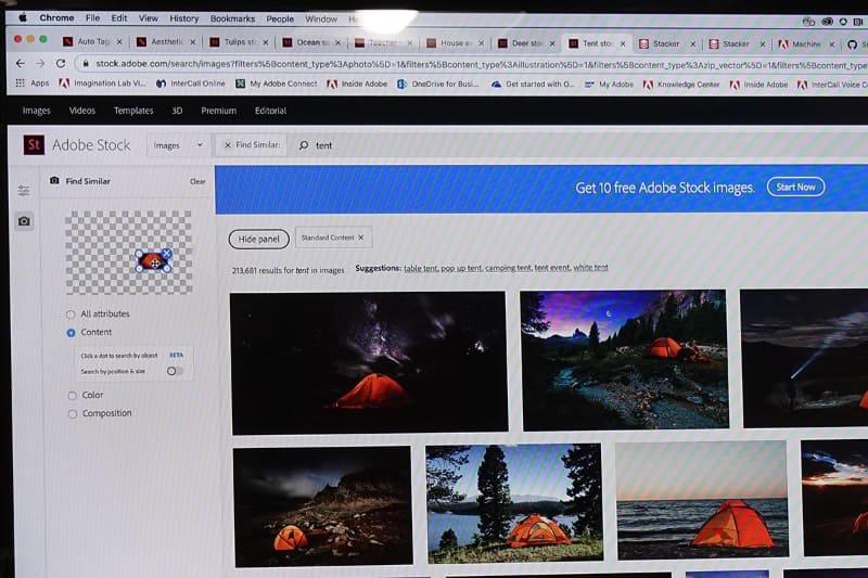 「Adobe Stock」でのSensei活用例。向きや位置などを元に検索することができる