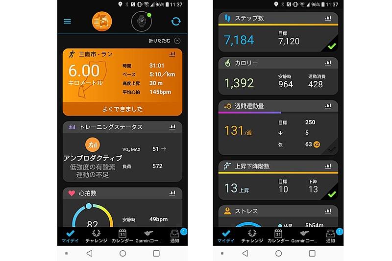 Garminのスマートウォッチと連携するスマートフォンアプリ「Garmin Connect Mobile」