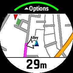 ピンクのラインで示されるルートに沿って走ることができる
