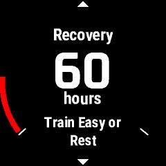 ランニング直後、回復までに60時間かかると表示された