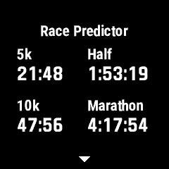 ランニングの内容や結果から、ハーフマラソンやフルマラソンを走ったときの予想タイムがわかる機能も
