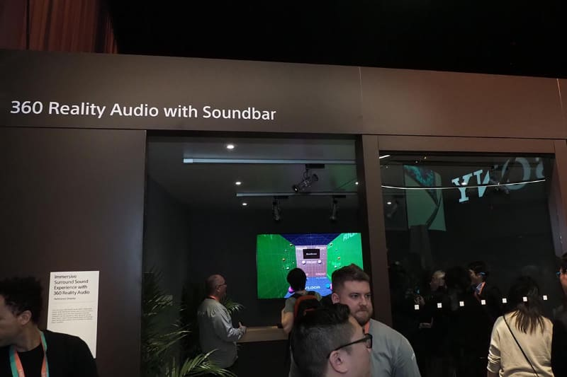 360 Reality Audio対応のサウンドバー参考展示のコーナー