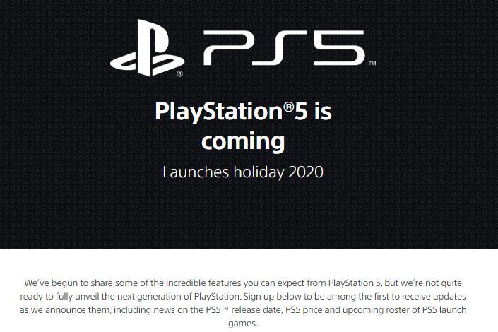 米国のプレイステーション公式サイト内にオープンしたPS5ページ