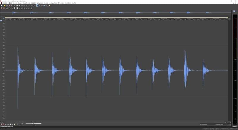 ピアノ音を録った時の波形