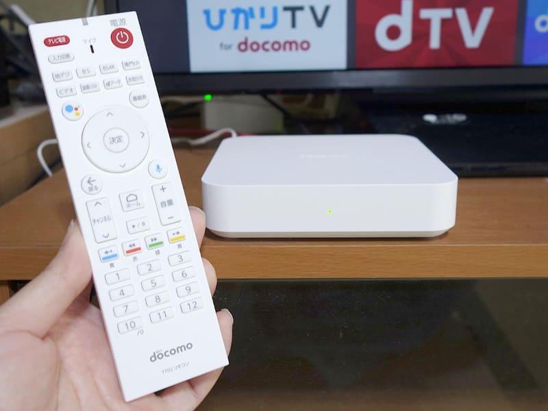 「ドコモテレビターミナル02」を、パナソニックの43型4Kテレビ「TH-43GX855」と接続。動画サービスなどを楽しんだ