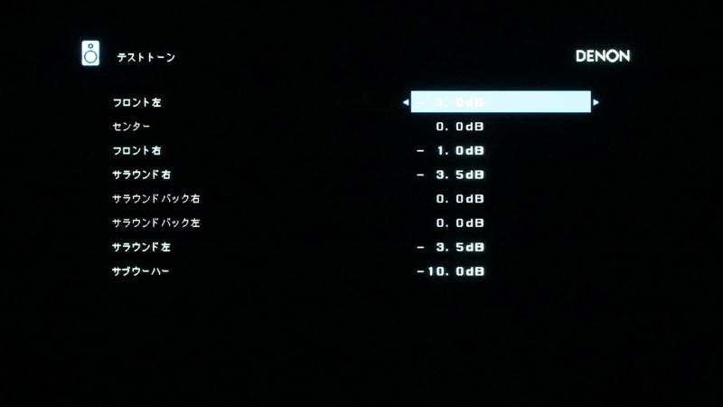 スピーカー音量の画面。フロントスピーカーは測定値は左右とも-3.0dBだったが、後に-1.0dBに調整している
