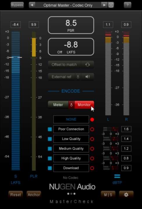 Monitorをオンにした状態でStudio Oneを再生すると、エンコード状態の音をモニタリングできる