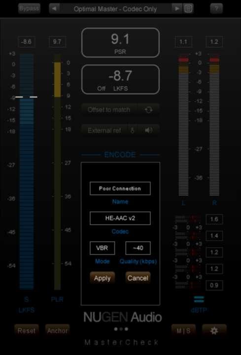 HC-AAC v2のコーデックでエンコードされた音をモニタリング