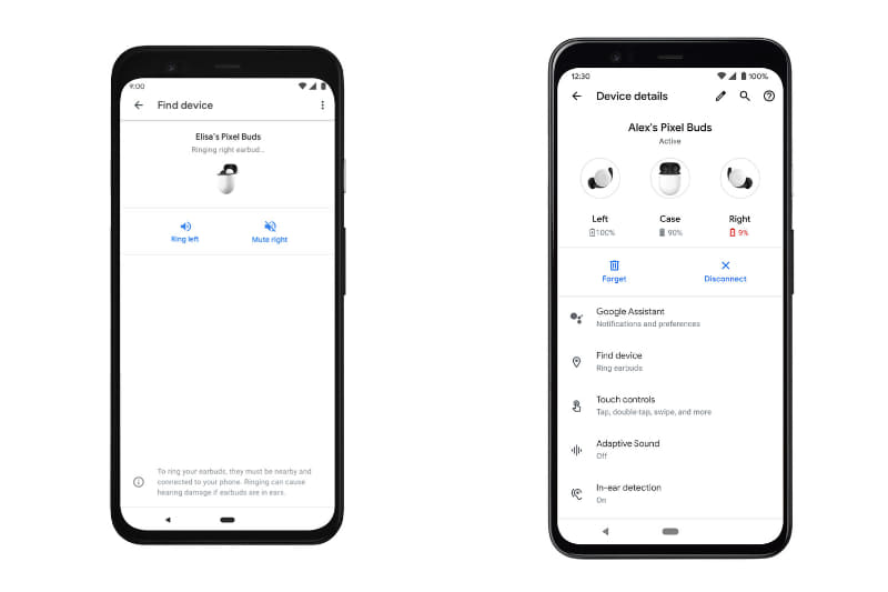 「デバイスを探す」画面(写真左)と、設定画面(右)