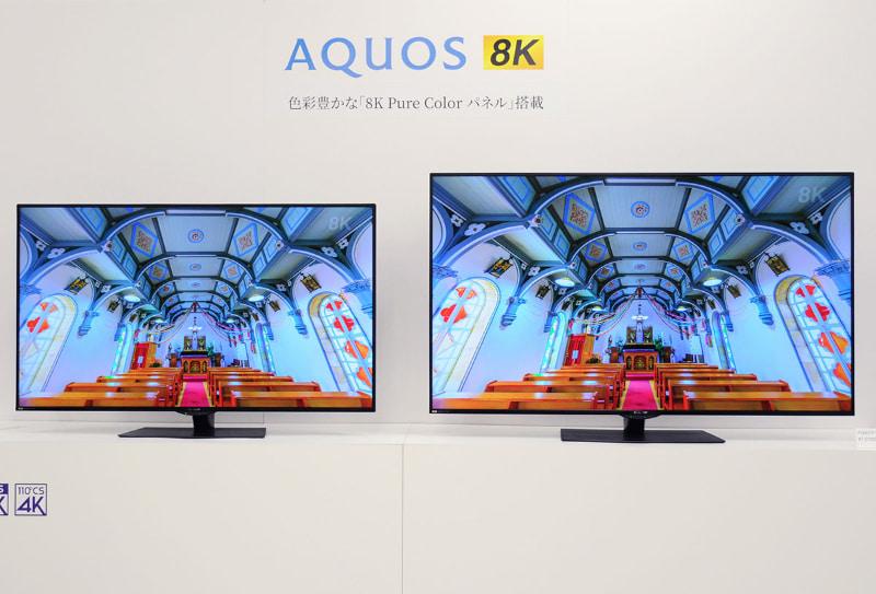 シャープが4月に発表した、フラッグシップのアクオス8K「CX1」。写真左から60型「8T-C60CX1」(約45万円)、70型「8T-C70CX1」(約60万円)