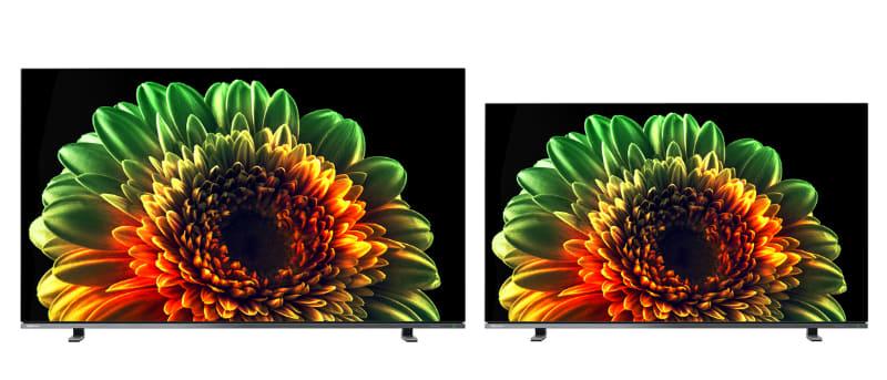 4K有機ELテレビ「X8400シリーズ」。写真左から55型、48型