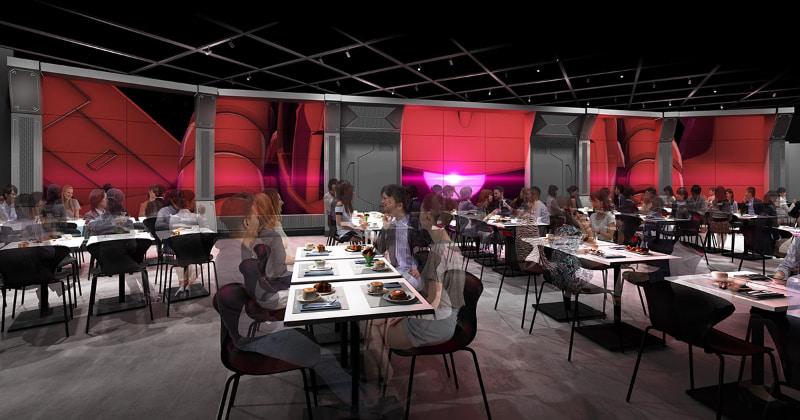 ガンダムの世界観をイメージした近未来的な空間で「レストランエリア」