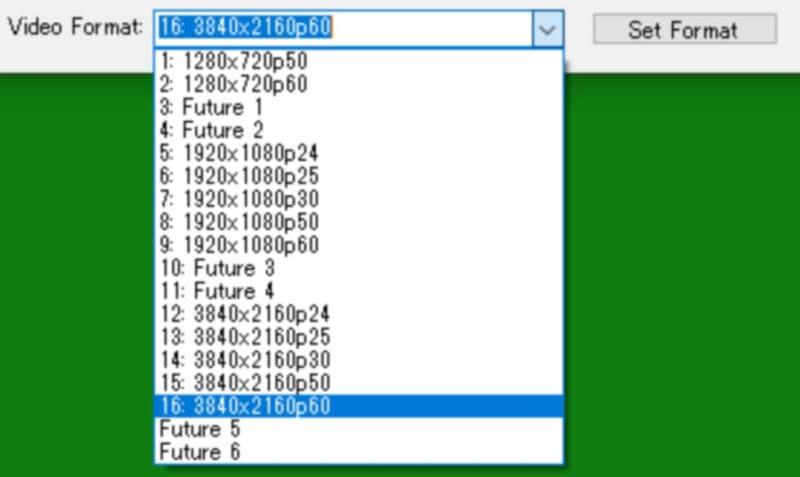 画面モードのラインナップ。このリストボックスから希望の画面モードを選択して、右側の[Set Format]ボタンを押すことで本体の試験映像の解像度/リフレッシュレート(フレームレート)を切り換えることができる。測定は4K Lag Tester本体の再起動不要でそのまま行なえる