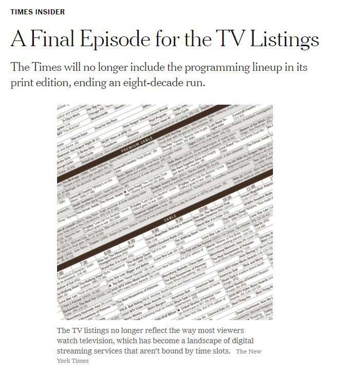 """ニューヨークタイムズ紙はテレビ欄の掲載を終了した<br><span class=""""fnt-70"""">The New York Timesホームページより</span>"""