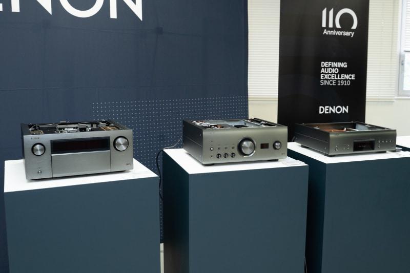 110周年記念モデル。左からAVアンプの「AVC-A110」、プリメインアンプ「PMA-A110」、SACDプレーヤー「DCD-A110」