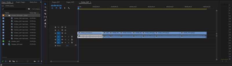 サブクリップを作成すると、シーン毎の動画ファイルが作成され、サブクリップファイル(画像左側)に保存される
