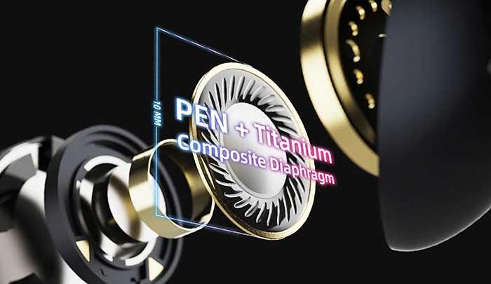 ダイナミックドライバー振動板はPENとチタン素材を使ったもの