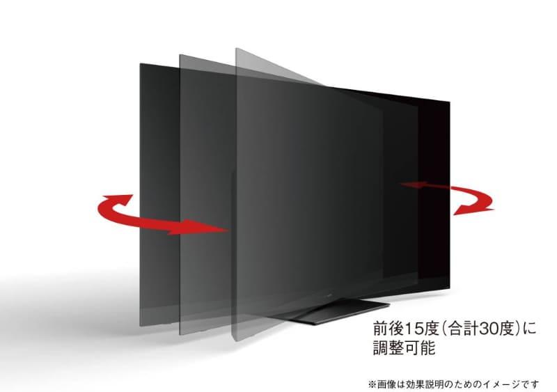 公式サイトには「前後±15度」とあるが、前後移動するわけではない。正確には表示面が左右±15度に回転する
