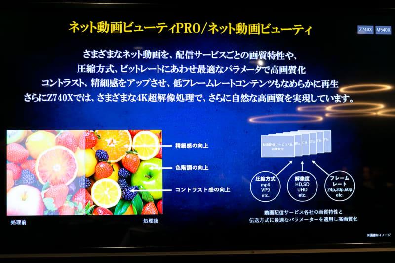 東芝レグザの一部モデルに搭載されている、ネット動画の高画質機能「ネット動画ビューティ」。動画配信サービスごとの画質特性や伝送方式に最適なパラメータを、サービス毎に適用することで高画質化を目指す