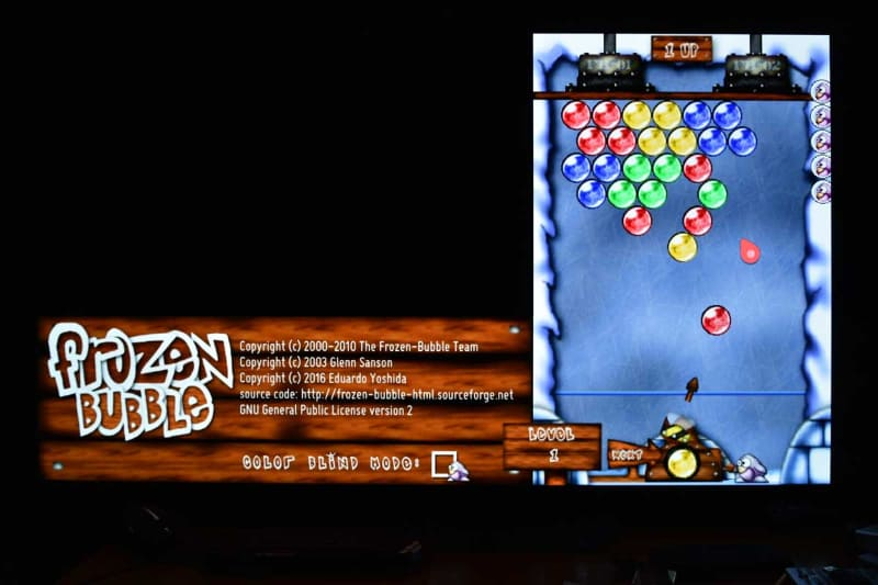 LGストアには、本機でプレイ可能なゲームも公開されている。写真はマジックリモコンのジェスチャー入力を活用してプレイできる、落ちものパズルゲーム「Frozen Bubble」