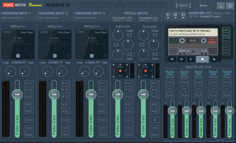 仮想音声デバイスを作れる「VoiceMeeter Banana」。これ自体にも録音機能があるので、さらにもう1つバックアップを用意できる