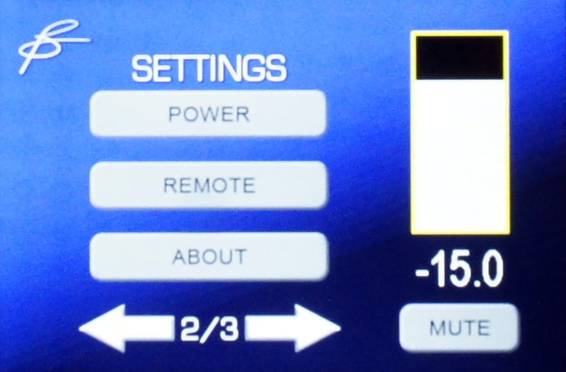 セッティングの画面。オートワーオンやトリガー端子を使ったリモート設定などが行なえる
