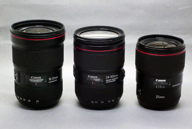今回お借りしたEFレンズ。左からEF16-35mm F2.8L III USM、EF24-105mm F4L IS II USM、EF35mm F1.4L II USM