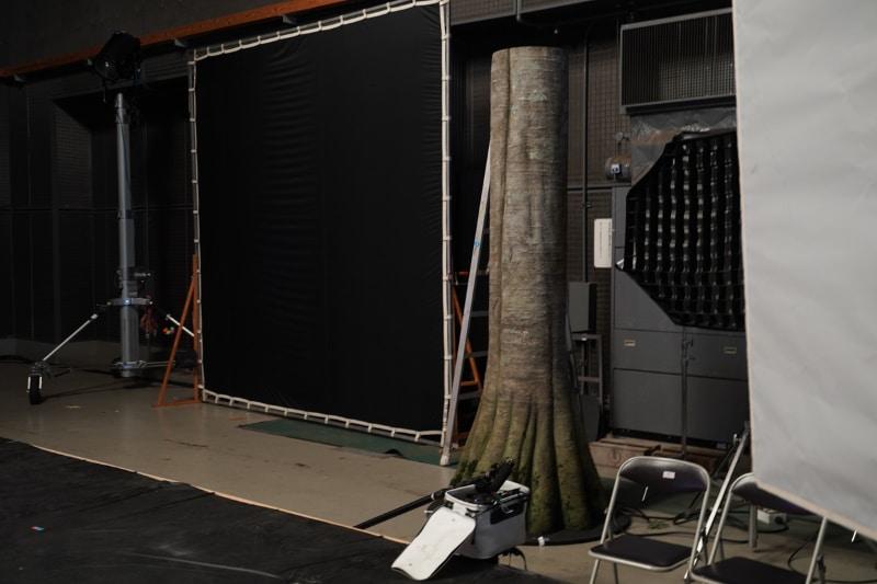 森のシーンで奥行き感を出すために、カメラの前に設置する木の模型