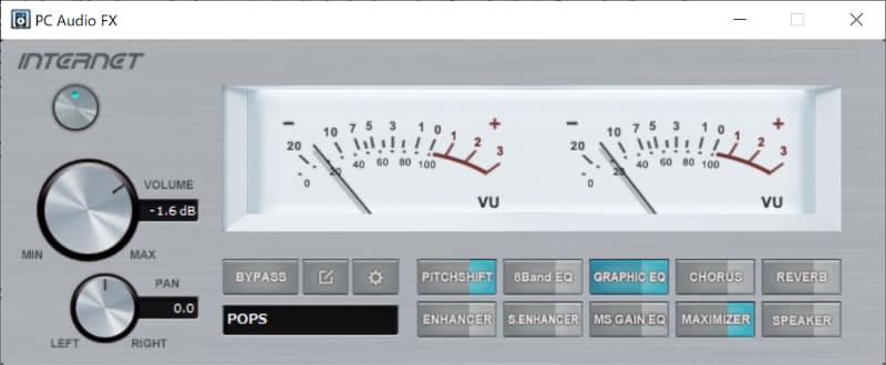 PC Audio FXのパネルが開いたところ