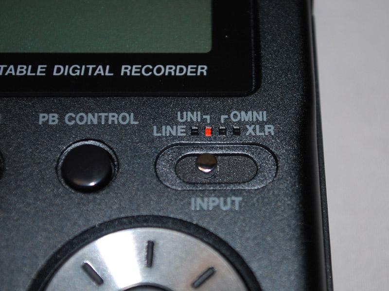 LINE、UNI、OMINI、XLRを切り替えるスイッチ