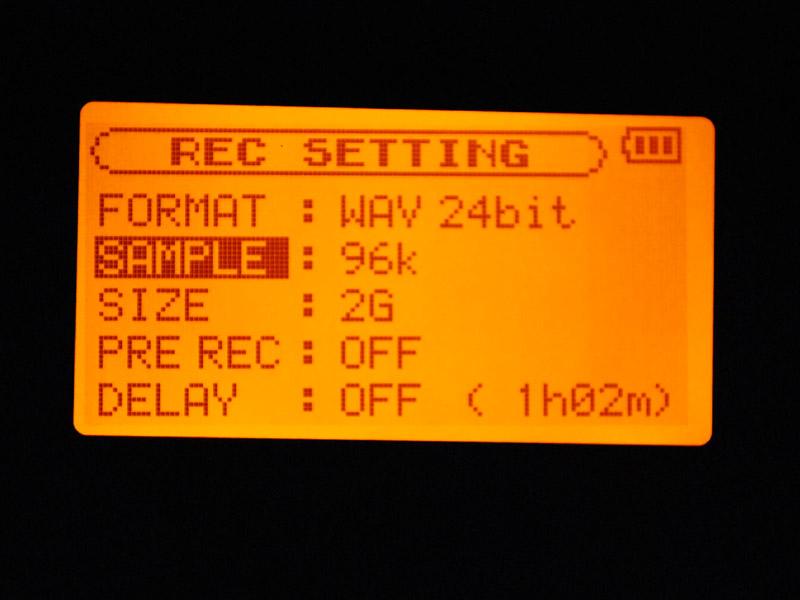 HSモード、24bit/96kHzの設定で録音