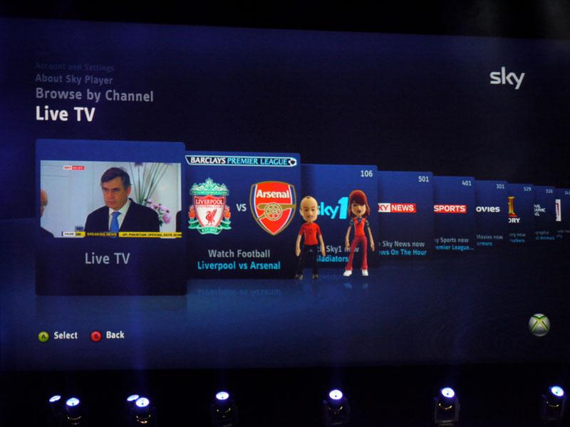 英国で行われる、Xbox Liveによる「BSkyB」サービスのイメージ。ライブ放送の他、オンデマンド配信も行なわれる