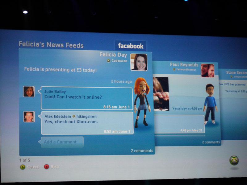 Xbox Live版facebook。PC版よりも画面が相当にすっきりと整理され、みやすくなっているのが特徴。操作はもちろん、コントローラーで行なえる
