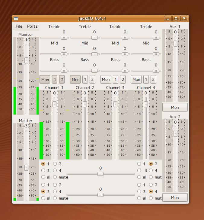 JACK Eqを起動すると、コンソールが表示され、ConnectionsのAudioタブにはjackEQが現れる