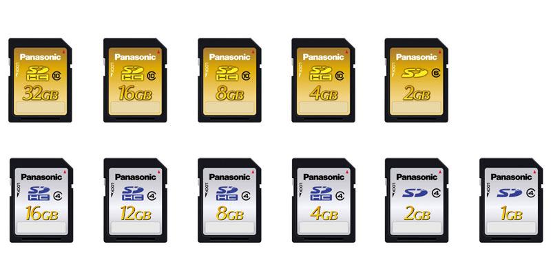 SD/SDHCカード。上がSDWシリーズ、下がSDPシリーズ