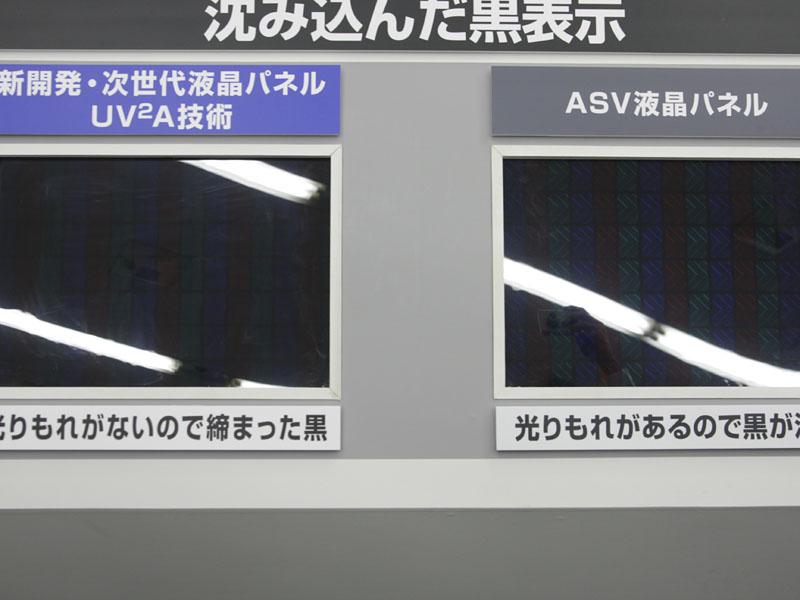 黒表示の場合、光漏れがなくより締まった黒を表現